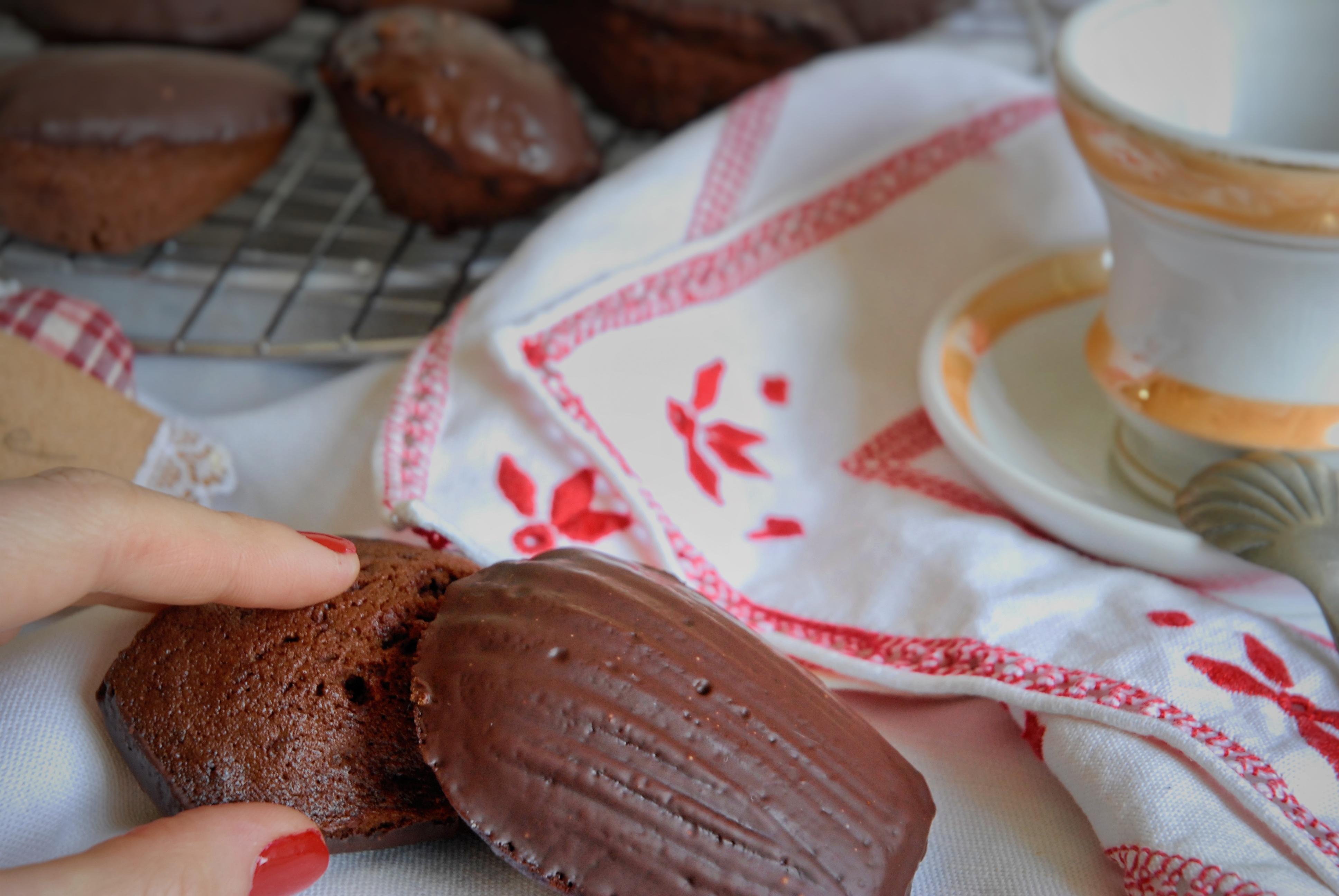Madeleines al doppio cioccolato e miele di castagno