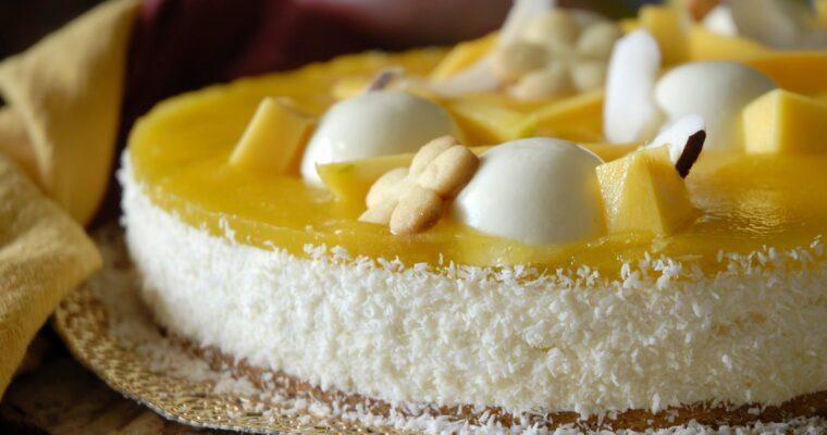 Cheesecake fredda al mango, cocco e lime
