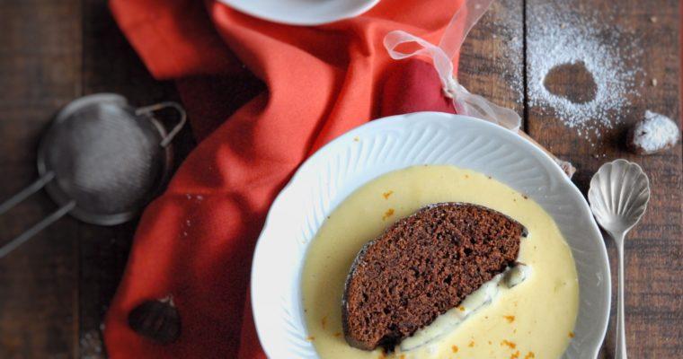 Torta cioccolato e castagne con crema inglese all'arancia