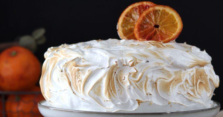 Torta quattro quarti meringata con curd di arance