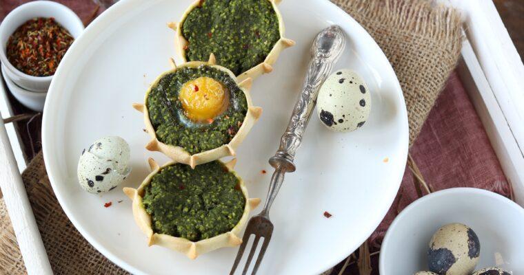 Pardule salate agli spinaci con uovo di quaglia