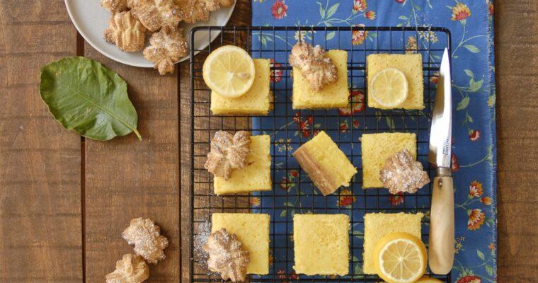 Lemon bars con base di biscotti