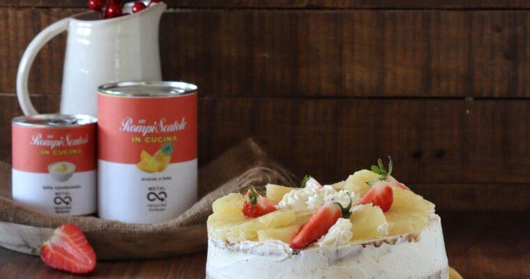 Torta quattro quarti con mousse bianca e ananas