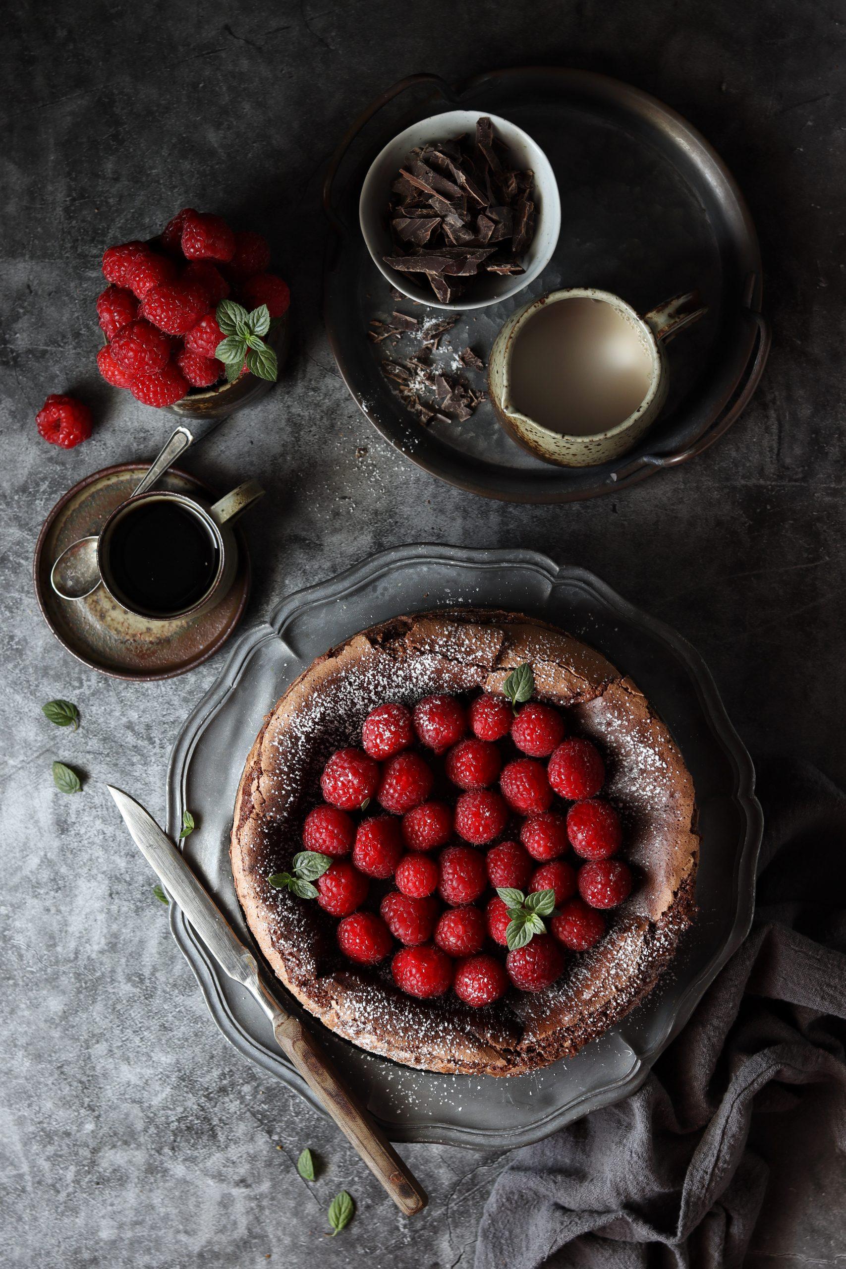 torta cioccolato e lamponi senza glutine